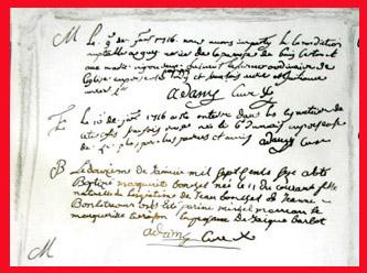 Partial copy of parish register bordered