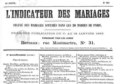 L'Indicateur des Mariages