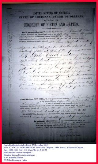 Death Certificate Jules Guiot