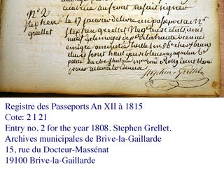 Grellet passport entry
