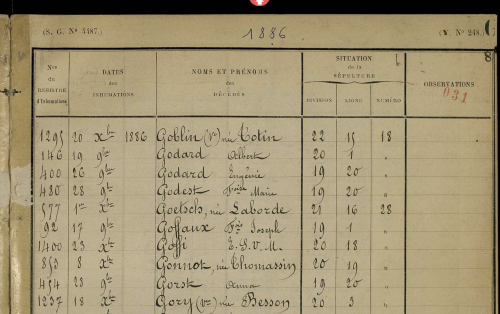 Paris cemetery register