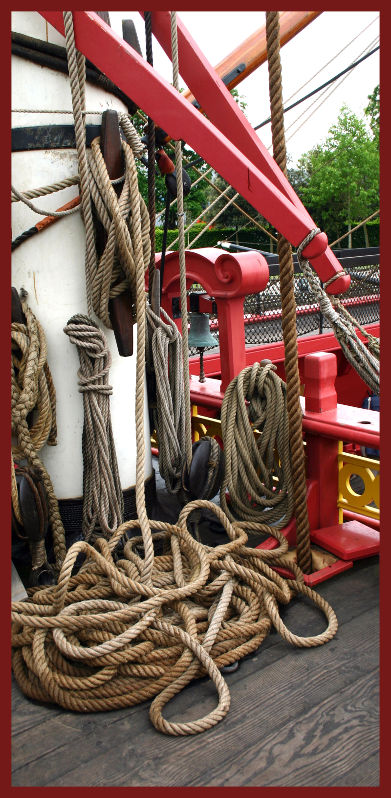 Frigate ropes coiled